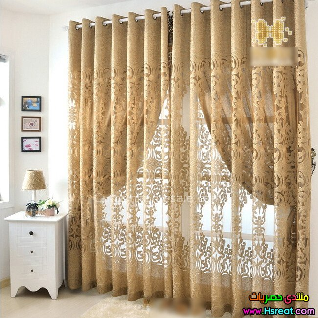 Decorating Gorgeous Walmart Curtains And Drapes For: صور ديكورات ستائر غرف نوم باللون الذهبي 2016