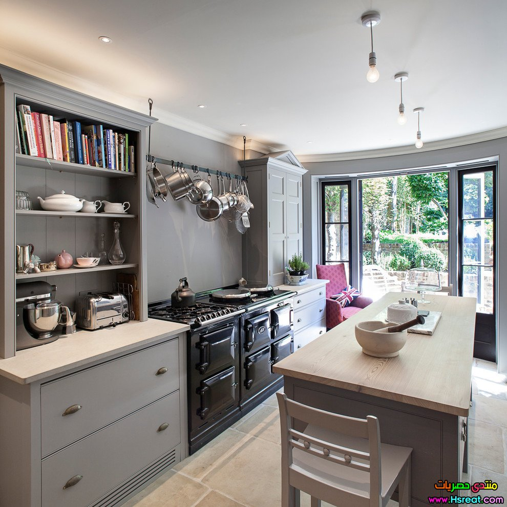Kitchens With Black Appliances And Oak Cabinets Awesome: مطابخ داخلية باللون الرصاصي مطابخ بديكور عصري واحدث الوان