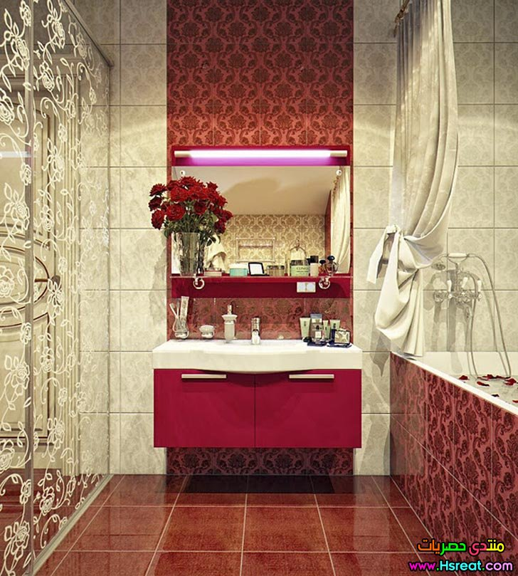 modest-red-bathroom-idea-sink-on-vintage-patterned-wall.jpg